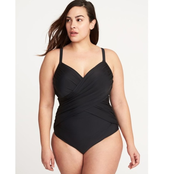 388708d9140 Old Navy Wrap Front Underwire One Piece Black 2X